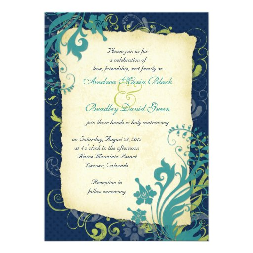 "Navy Blue Green Teal Floral Wedding Invitation 5"" X 7"