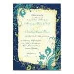 "Navy Blue Green Teal Floral Wedding Invitation 5"" X 7"" Invitation Card"