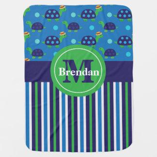 Navy Blue Green Turtle Stripe Personalized Stroller Blanket