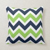 Navy Blue Green White Chevron Pattern Pillow