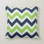 Navy Blue Green White Chevron Pattern Pillow