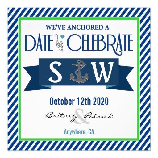 Navy Blue Green White Nautical Wedding Invitations Square Invitati