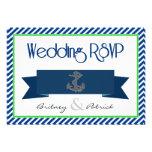 Navy Blue Green White Nautical Wedding RSVP Cards Invitation