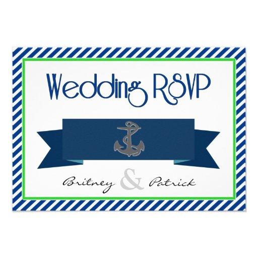 Navy Blue Green White Nautical Wedding RSVP Cards Invitations
