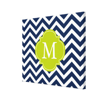 Navy Blue & Green Zigzags Pattern Monogram Canvas Print