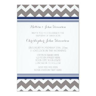 Navy Blue Grey Chevron Baptism Invitation