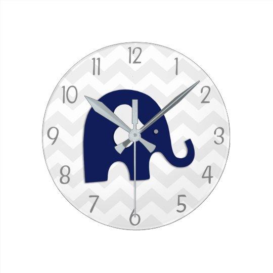 Navy Blue Grey Elephant Nursery Wall Clock