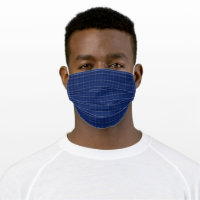 Navy Blue & Grey Plaid Adult Cloth Face Mask