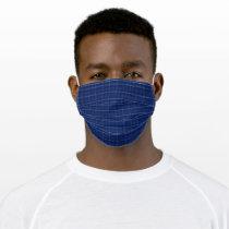 Navy Blue & Grey Plaid Adult Cloth Face Mask