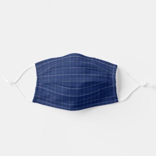 Navy Blue  Grey Plaid Cloth Face Mask