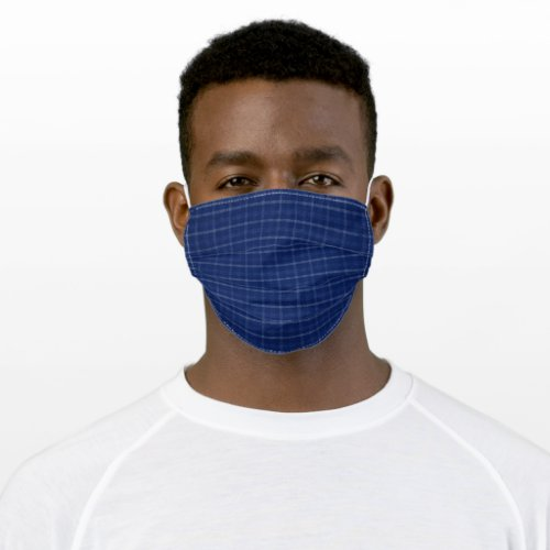 Navy Blue  Grey Plaid Cloth Face Mask