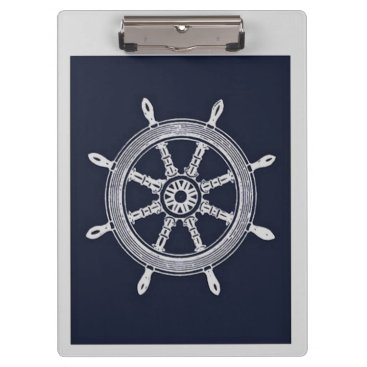 Beach Themed Navy Blue & Grey Ship Wheel Clipboard