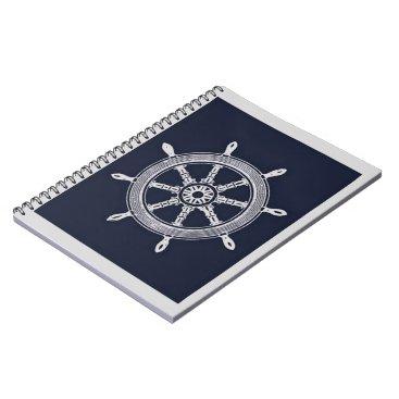 Beach Themed Navy Blue & Grey Ship Wheel Spiral Notebook