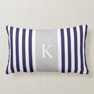 Navy Blue Grey Stripes Monogram Lumbar Pillow