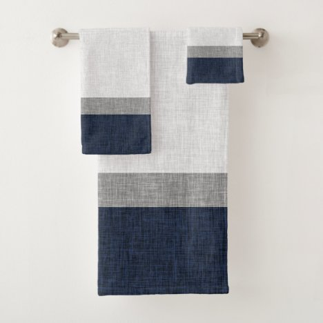 Navy Blue Grey White Bold Stripe Crosshatch Bath Towel Set