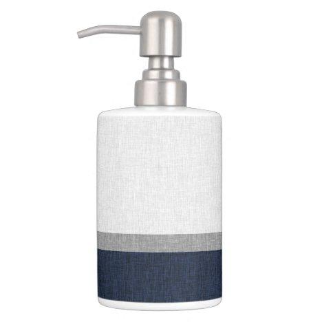 Navy Blue Grey White Stripe Heather Pattern Bath Set