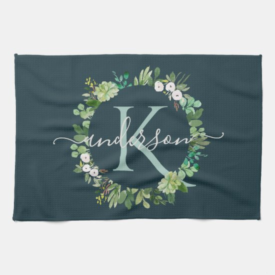 NAVY BLUE GREY WREATH FOLIAGE WATERCOLOR MONOGRAM HAND TOWEL