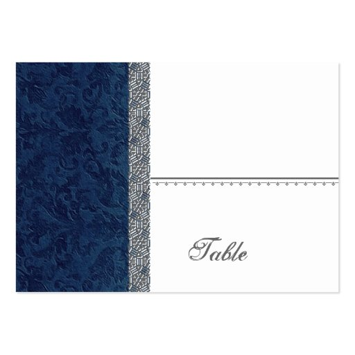 Navy Blue Grunge Damask Place Card - Wedding Party Large Business Cards (Pack Of 100)
