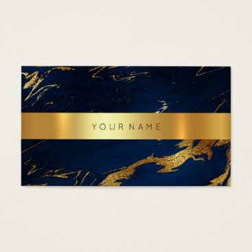 Professional Business Navy Blue Grungy Gold Marble Vip Business Card2 Business Card