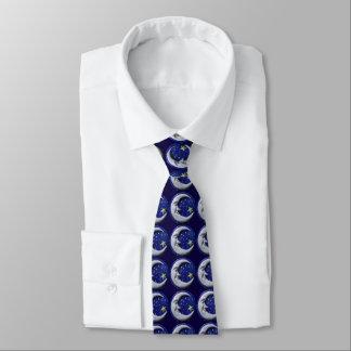 Navy Blue Happy Moon Pattern Neck Tie