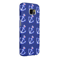 Navy Blue Heart Anchors Samsung Galaxy S6 Case