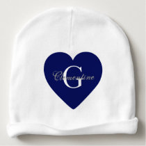 Navy Blue Heart Name Initial Monogram Baby Beanie