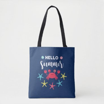 Beach Themed Navy Blue Hello Summer Happy Crab Tote Bag