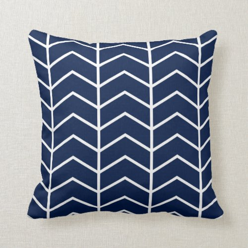 Navy Blue Herringbone Chevron Throw Pillow