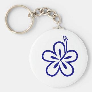 Navy blue hibiscus keychain