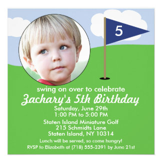 Navy Blue Hole in One Photo Mini Golf Party Invitation