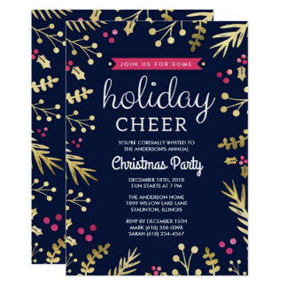 Navy Blue Holiday Cheer Christmas Party Invitation