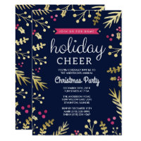 Navy Blue Holiday Cheer Christmas Party Invitation