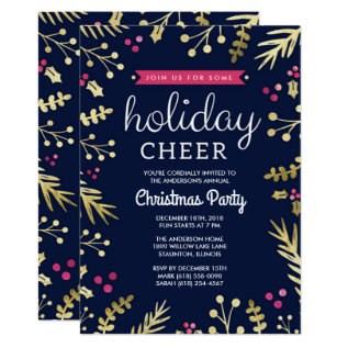 Navy Blue Holiday Cheer Christmas Party Invitation at Zazzle