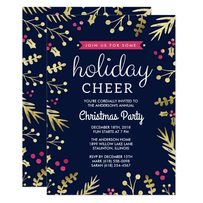 Navy Blue Holiday Cheer Christmas Party Invitation | Zazzle