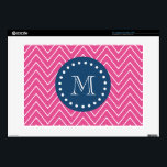 """Navy Blue, Hot Pink Chevron Pattern, Your Monogram 15&quot; Laptop Decal<br><div class=""""desc"""">Hot pink and white chevron pattern 2A with a preppy, navy blue, round label containing white dots in a circle shape and a monogram or initial you can customize to make your own. GraphicsByMimi&#169; A trendy pattern for her. Use the template field or select """"customize it"""" for more editing options...</div>"""