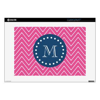 "Navy Blue, Hot Pink Chevron Pattern, Your Monogram 15"" Laptop Decal"
