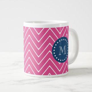 Navy Blue, Hot Pink Chevron Pattern, Your Monogram 20 Oz Large Ceramic Coffee Mug