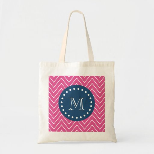 Navy Blue, Hot Pink Chevron Pattern, Your Monogram Tote Bags