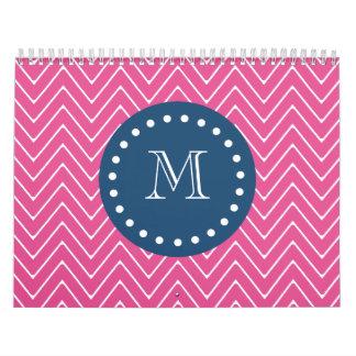 Navy Blue, Hot Pink Chevron Pattern, Your Monogram Calendar
