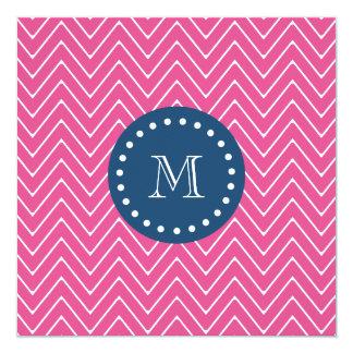 Navy Blue, Hot Pink Chevron Pattern, Your Monogram Card
