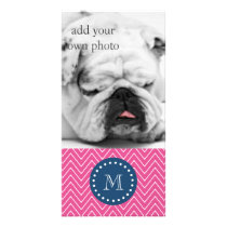 Navy Blue, Hot Pink Chevron Pattern, Your Monogram Card
