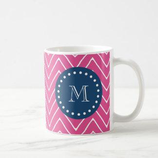Navy Blue, Hot Pink Chevron Pattern, Your Monogram Classic White Coffee Mug