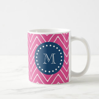 Navy Blue, Hot Pink Chevron Pattern, Your Monogram Coffee Mug
