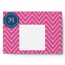 Navy Blue, Hot Pink Chevron Pattern, Your Monogram Envelope