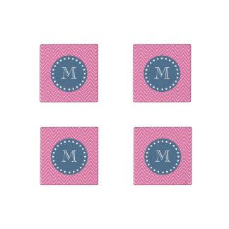 Navy Blue, Hot Pink Chevron Pattern, Your Monogram Stone Magnet