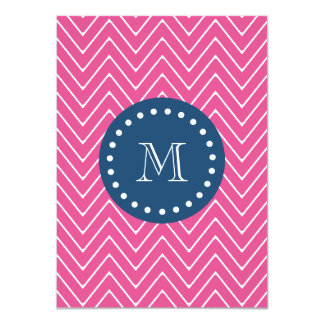 "Navy Blue, Hot Pink Chevron Pattern, Your Monogram 4.5"" X 6.25"" Invitation Card"
