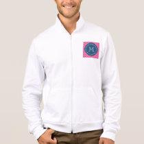 Navy Blue, Hot Pink Chevron Pattern, Your Monogram Jacket