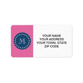 Navy Blue, Hot Pink Chevron Pattern, Your Monogram Address Label