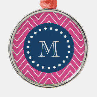Navy Blue, Hot Pink Chevron Pattern, Your Monogram Ornaments