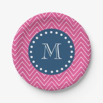 Navy Blue, Hot Pink Chevron Pattern, Your Monogram Paper Plate